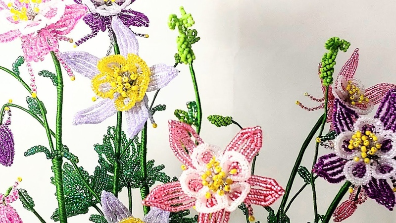 Аквилегия Авторский МК Часть 2 от Koshka2015 Цветы из бисера Бисероплетение Aquelegia flower