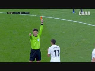 Реал Мадрид - Реал Сосьедад. Лукас Васкес получает красную карточку