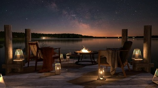 The Sound of Bonfires and Nature at the Dock on a Calm Lake on an Autumn Night. - 8 Hours