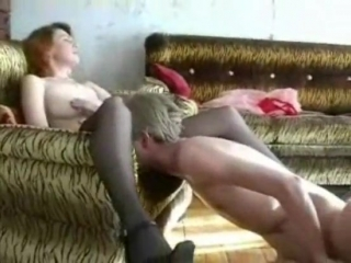 Russian mature mom and son - sex on couch