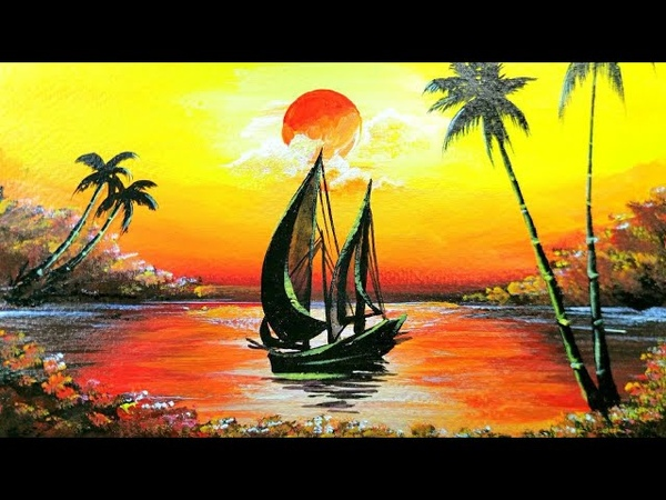 Sailboat sunset seascape scenery Sunset acrylic painting for beginners.