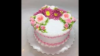 Оформление торта цветами из БЗК ( Белково - заварной крем ) Роза/пион/хризантема