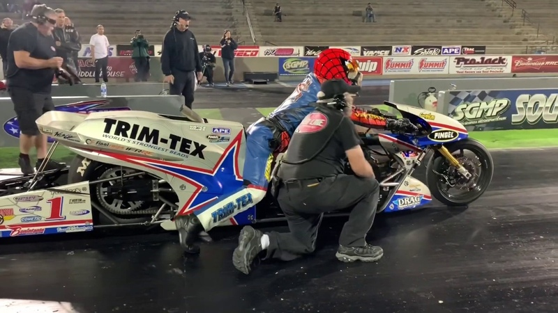 """WORLD RECORD RAW FOOTAGE AND SOUND! LARRY """"SPIDERMAN"""" MCBRIDE GOES 5.50 at 264 MPH ON TOP FUEL BIKE!"""