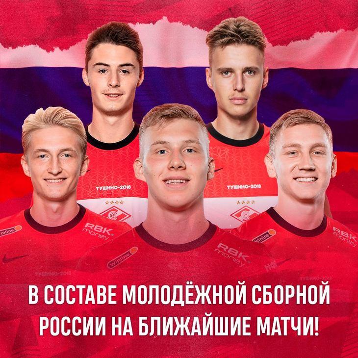 Пять спартаковцев вызваны в молодежную сборную России