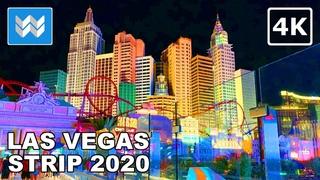 Las Vegas Strip at Night - 2020 Virtual Walking Tour - Treadmill Workout Video 🎧 Binaural Sound【4K】