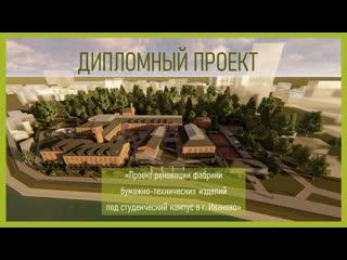 Проект реновации фабрики бумажно-технических изделий под студенческий кампус в г. Иваново