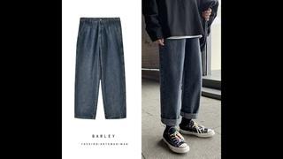 Мужские джинсы 2019 осень и зима новые осенние и зимние однотонные свободные прямые универсальные джинсы молодежная трендовая