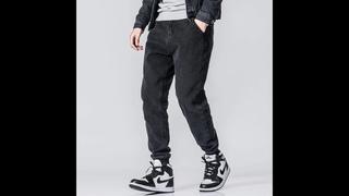 Мужские джинсы карго, черные винтажные джинсы шаровары в стиле хип хоп, в японском стиле