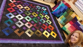 Quilt + Pillows - FREE pattern Harlequin Charm!