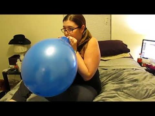 CHICK DOES A BLOW TO POP BLUE BALLOON