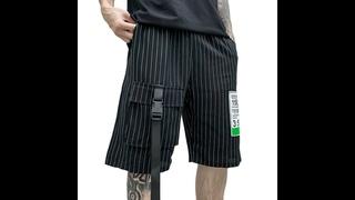Новые летние мужские полосатые шорты с несколькими карманами в стиле хип хоп, повседневные мужские панковские повседневные