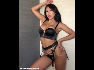 Nicole Doshi Sexy Black Lingerie G-string chinese girl asian hot ass tits китаянка секси белье эротическое гламурная инстаграм
