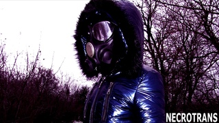 SHINING BLUE SNOW SUIT - WINTER OVERALL - SKI OVERALL + GAS MASK PMK-3, S-10, PANORAMIC DRAGER MASK