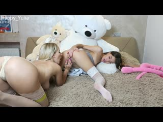 Happy Yulia - Lesbian Students Playing on the Bed