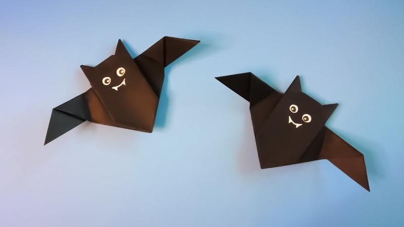 Оригами летучие мыши Как сделать летучую мышь из бумаги на Хэллоуин Halloween Origami DIY