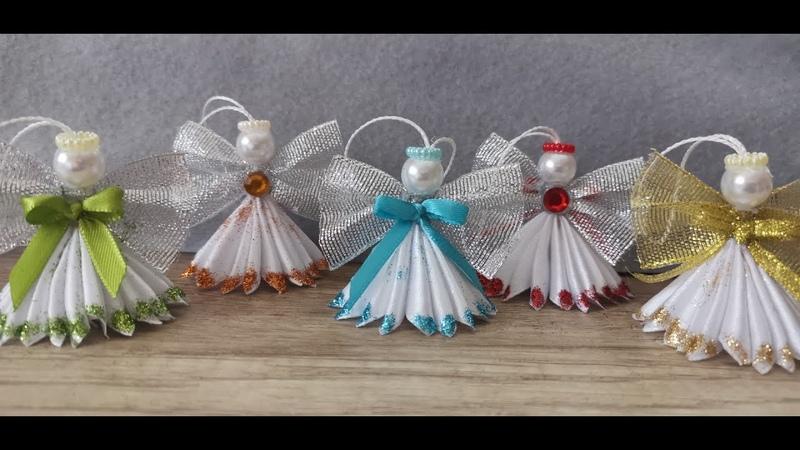Kanzashi Christmas angel Angel in glitter dress Satin ribbon angel Handmade decoration