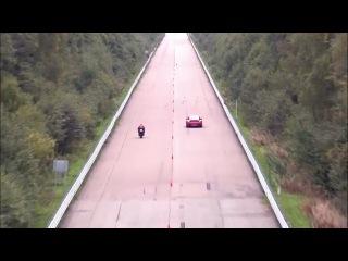 Классная гонка porsche 911 против suzuki hayabusa