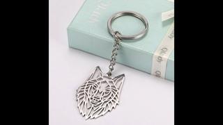 Мужское кольцо в форме ключа, брелок с котом из нержавеющей стали с волком и единорогом