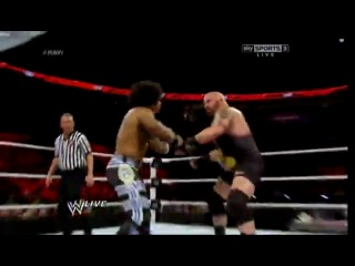 WWE Monday Night Raw  -  R-Truth & Xavier Woods vs. Tons Of Funk (Brodus Clay & Tensai) (w/Cameron & Naomi)