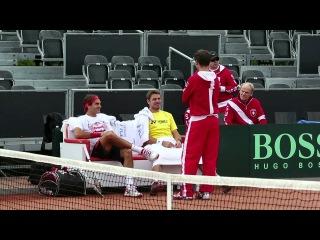 Roger Federer practises in Amsterdam
