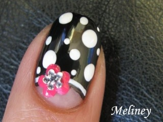 Easy Nail Art Tutorial Moon Flower Black & White Dots Half Moon French Manicure Design Short Nails