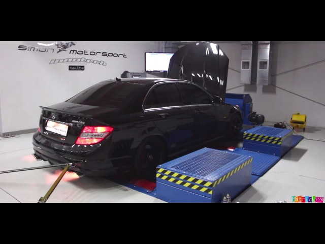 Mercedes C63 AMG throwing flames on the Dyno. Tuned to 580HP by Simon Motorsport Dubai