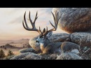 Acrylic Landscape Speed painting Mule deer at sunset