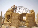 5 How to Build a Geodesic Strawbale Dome - Placing the Bales