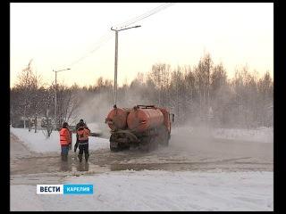 На Сыктывкарской в Петрозаводске случился потоп при -20