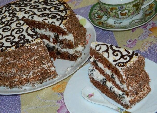 "Торт ""Тёмная ночь""  Для бисквита: 3 яйца; 1 стакан сахара; 220 мл..."