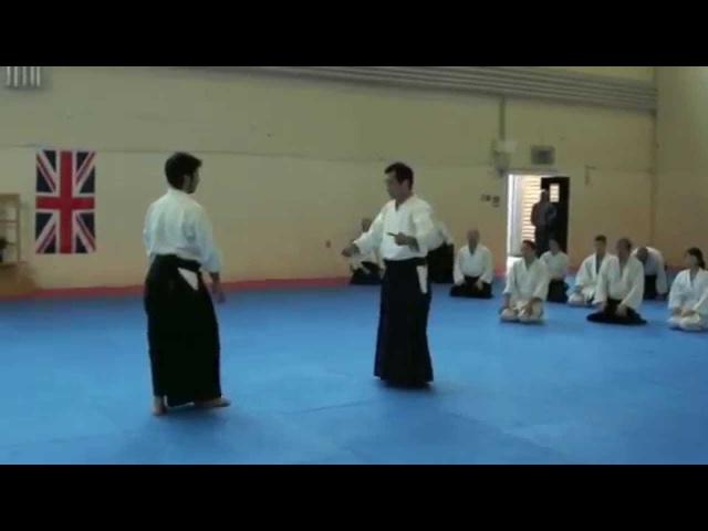 Yukimitsu Kobayashi Sensei 7th Dan Aikikai Hombu Shihan demonstrates Yokomenuchi Kubishime waza