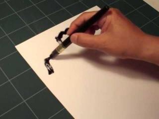 """筆ペン墨絵 山水図の描き方 Ink wash painting lesson """"Shan Shui the landscape"""""""