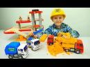 Строительные Машинки MOTOR PLAY и кинетический песок - Рабочие Машины Экскаватор и Грузовики