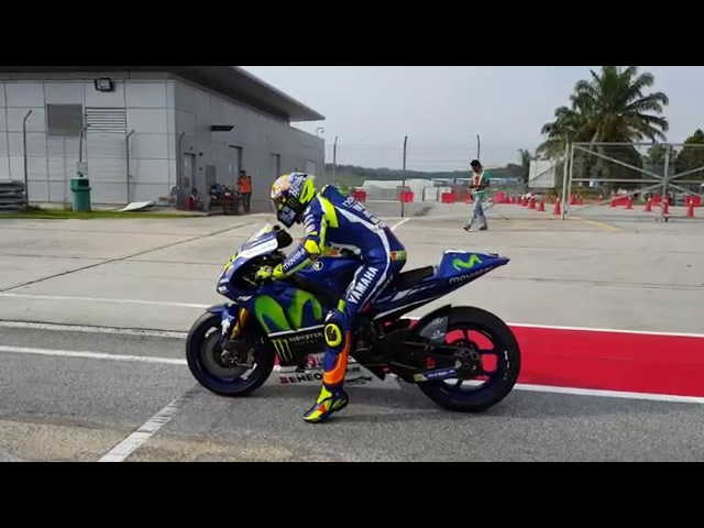 Valentino Rossi practice start, Sepang winter test 2016. Super SOUND!