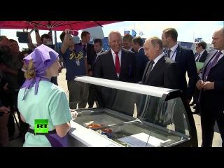 #Путин угостил делегацию правительства мороженым на авиасалоне МАКС-2017