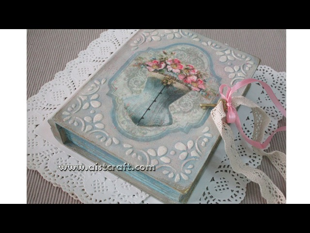 Decoupage Tutorial - DIY Vintage Book Box with Key
