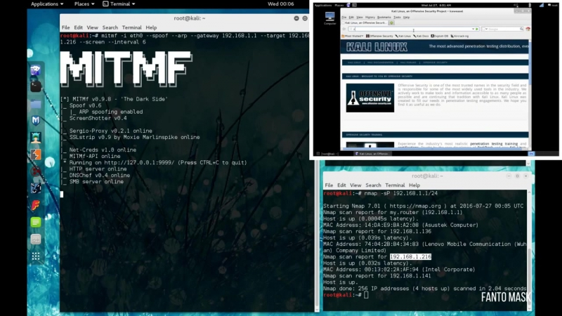 Kali Linux 2.0 Скриншот клиентских браузеров (MITMf ScreenShotter) в Wi Fi сетях