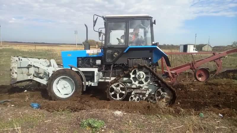 Работа с бульдозерным отвалом трактора Беларус 80 на полугусиничном ходу