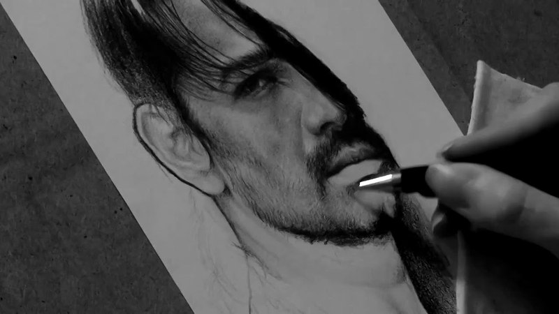 Drawing Tomo Milicevic pencil portrait Timelapse Late Bar's Art by Jane Negoda