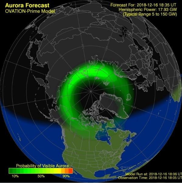 Прогноз полярного сияния с сайта Space Weather Prediction Center