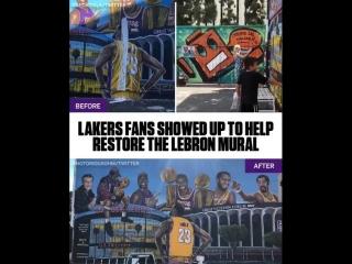 Болельщики «Лейкерс» помогли восстановить испорченное граффити с ЛеБроном Джеймсом