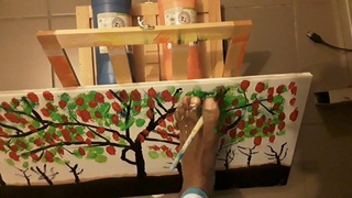 Eugene Andria - comment peindre les arbres avec les pieds (Peinture acrylique)