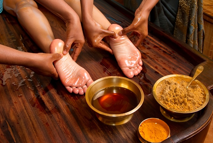 масляный массаж ног