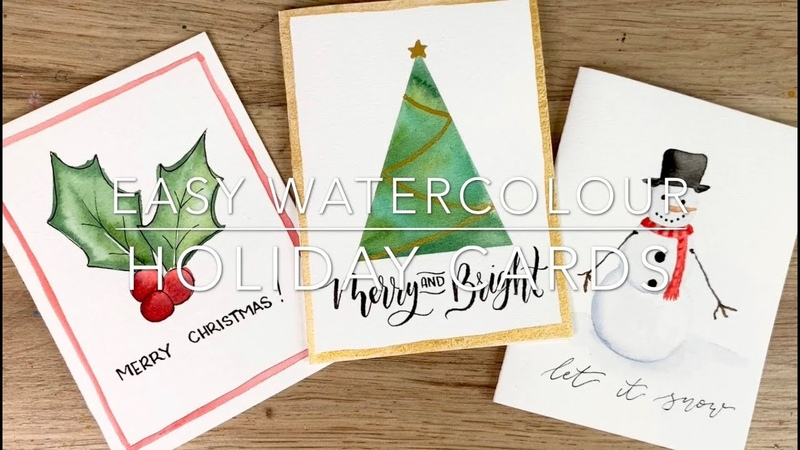 Easy Watercolour Holiday Cards In Under 6 Minutes