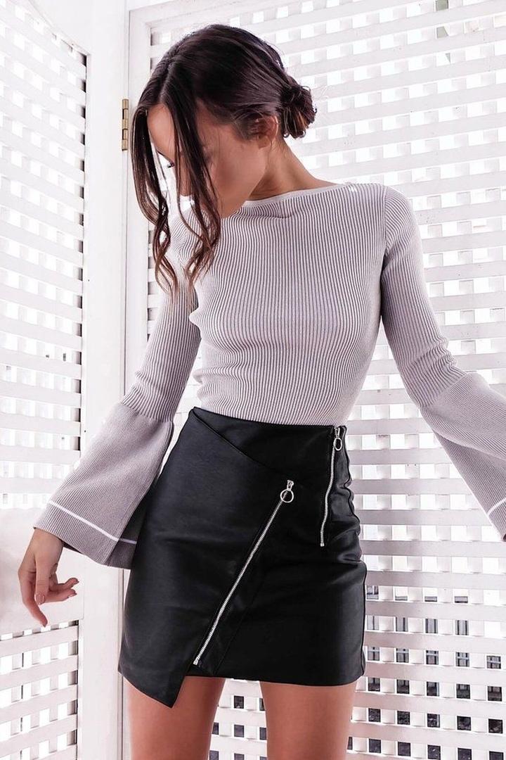 С чем носить кожаную юбку карандаш, трапецию, короткую, длинную 2019-2020: идеи и фото