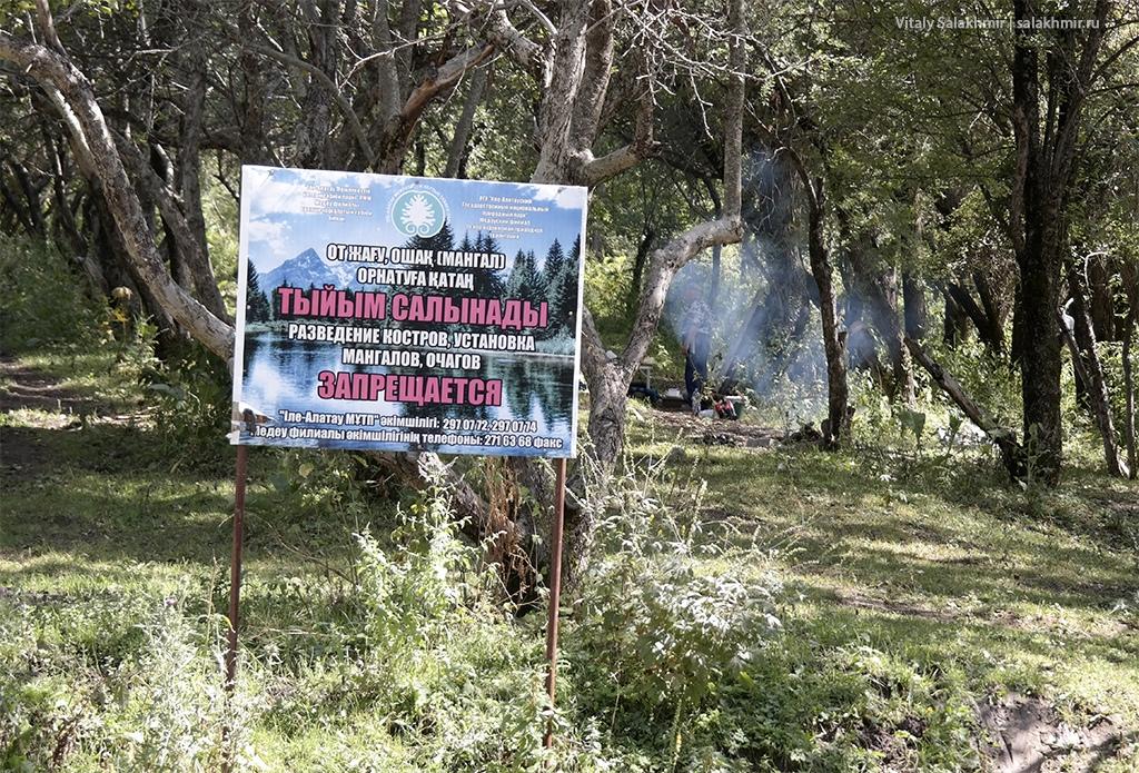 Костры в Иле-Алатауском национальном парке, Алматы 2019