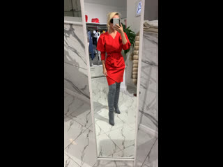Платье красное рукав фонарик