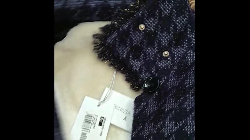 Пальто Patrizia Pepe с подкладкой на утеплителе , модный принт , воротник стойка на клепках, рус 42-44 размер или S