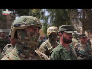 Военнослужащий ОБрСпН МО России обеспечивают безопасность генерала САА Сухеля   Специальные подразделения России   СПР
