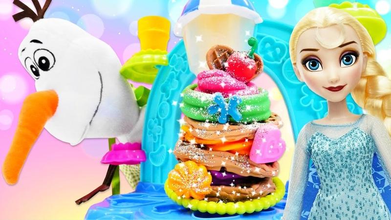 Karlar Ülkesi Elsa ve Olaf dondurmacı oluyorlar Play Doh dondurma dükkanı oyuncak seti